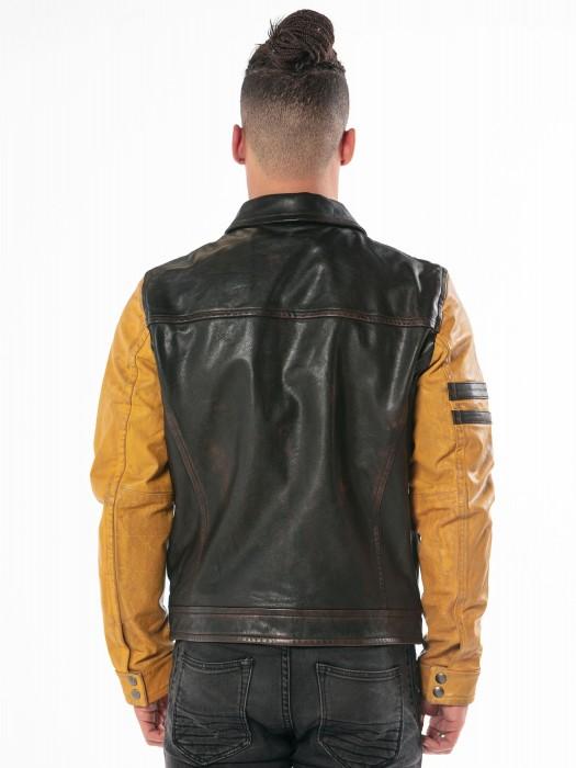 Brave Badges - Blouson cuir homme