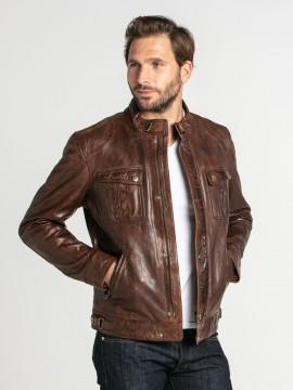 Alvin - Blouson col motard cuir homme