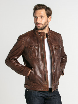Alvin - Blouson motard cuir homme